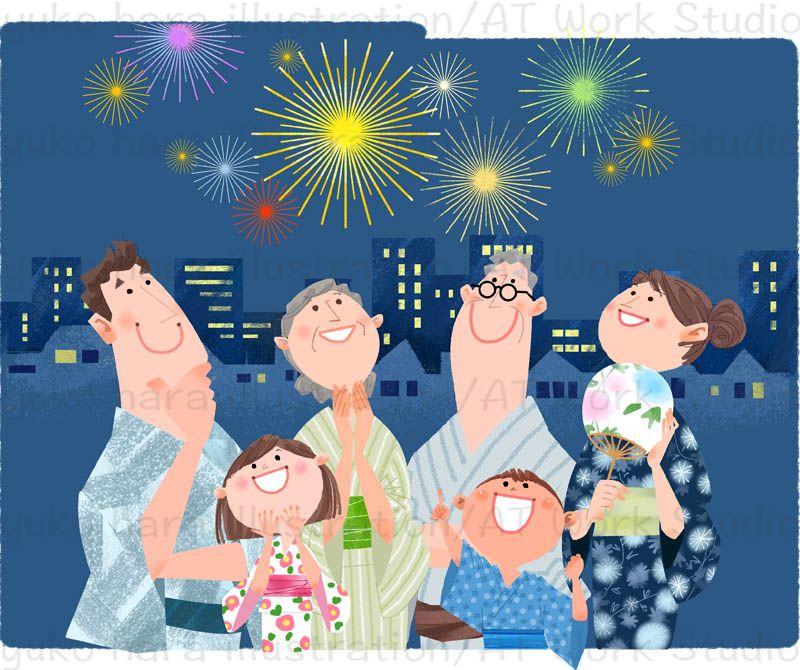 浴衣姿で夏の夜空を彩る花火を見ている3世代家族のイラスト