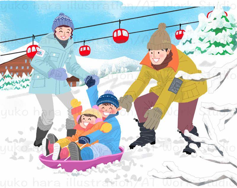 白銀のゲレンデでそり遊びを楽しむ家族を描いたイラスト