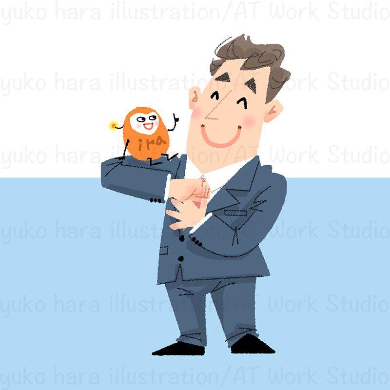 キャラクター化したイライラを肩に乗せ笑顔のビジネスマンのイラスト