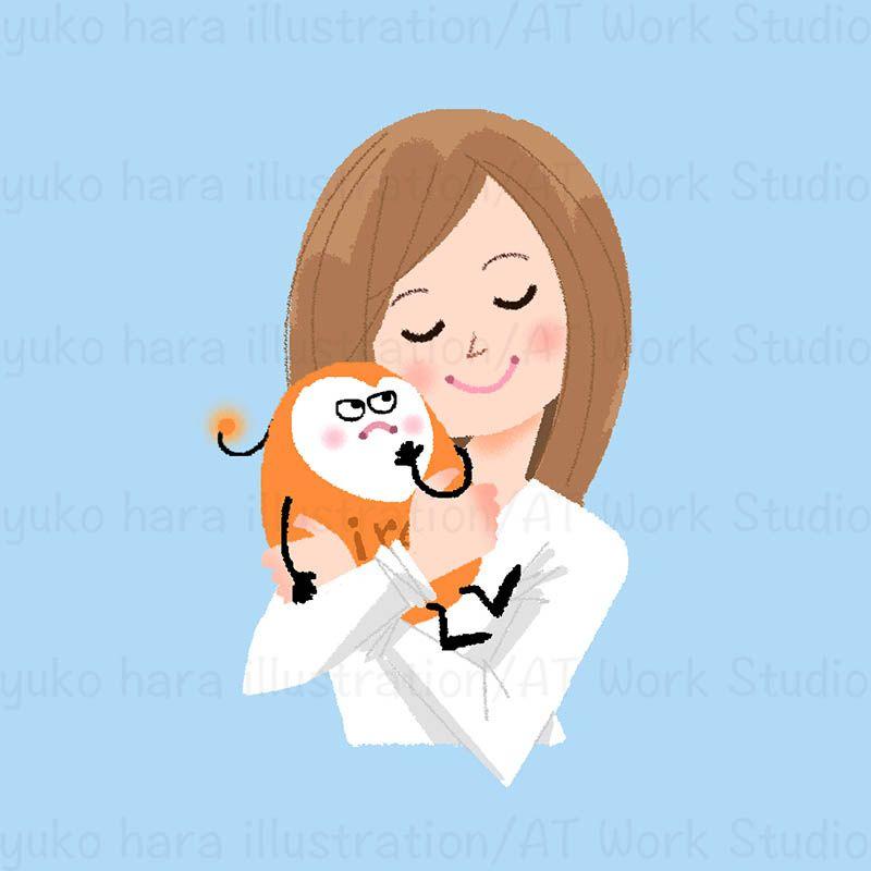 キャラクター化したイライライライラを愛おしく抱き寄せる女性のイラスト