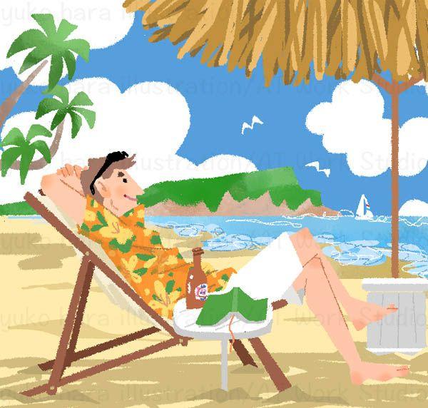 南国のビーチでデッキチェアに座りくつろぐ男性のイラスト