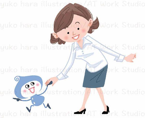 涙のキャラクターしくしくちゃんに手を引かれ前に進む女性社員のイメージイラスト