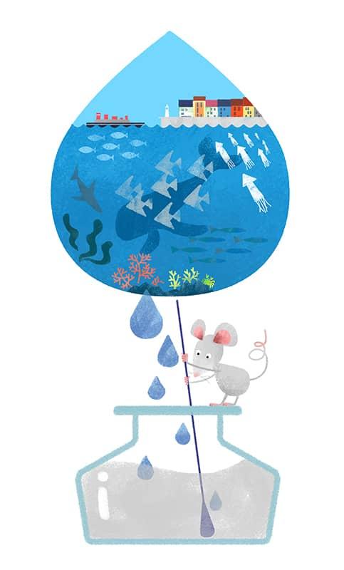 海の青い水の雫とグレイのインクを擬人化したねずみが混ぜているイメージイラスト