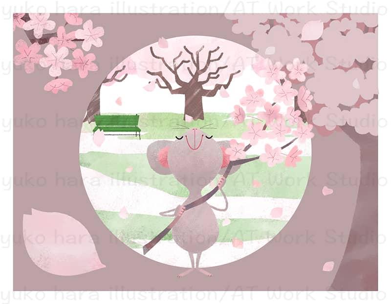 満開の桜の樹の下で桜の枝を手に持って満足そうな擬人化した桜ねずみのイラスト