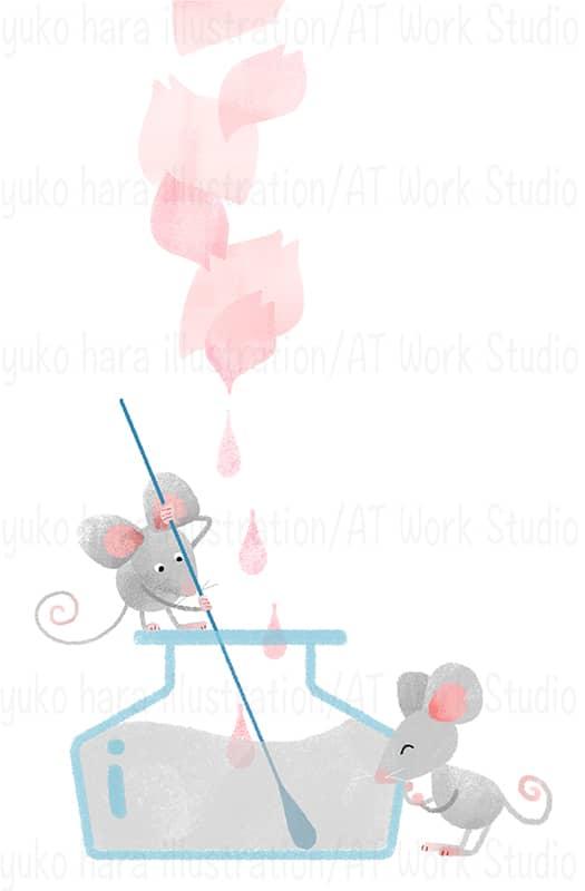 桜の花びらの色合いとグレーを混ぜ合わせる擬人化したねずみのイラスト