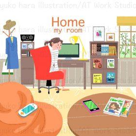 机の前の椅子に座った女の子と部屋の中の情景を描いたイラスト