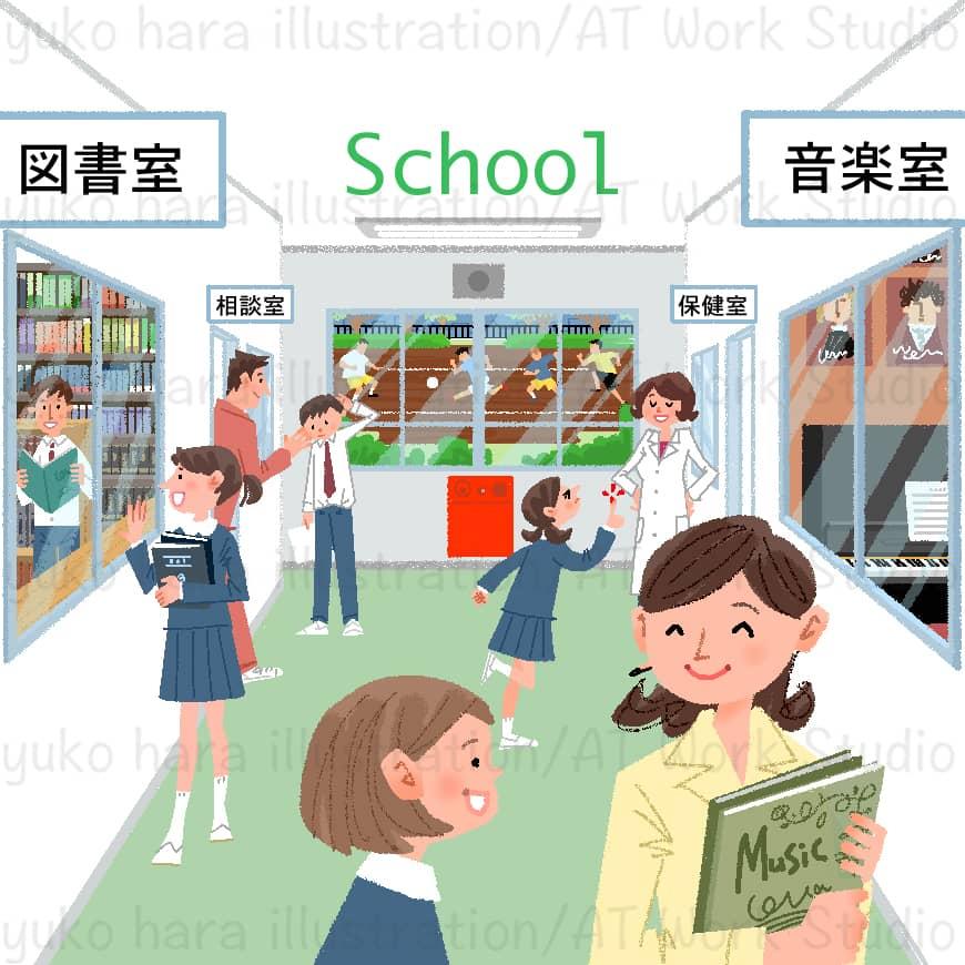 学校内の廊下での生徒と先生の情景を描いたイラスト